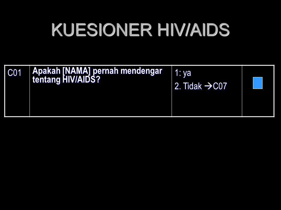 KUESIONER HIV/AIDS C01 Apakah [NAMA] pernah mendengar tentang HIV/AIDS 1: ya 2. Tidak C07